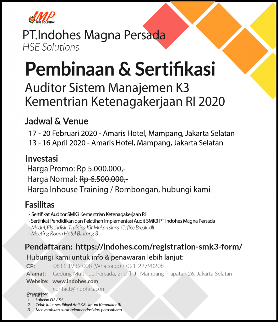 Sertifikasi Auditor Sistem Manajemen K3 Kemnaker RI 2020