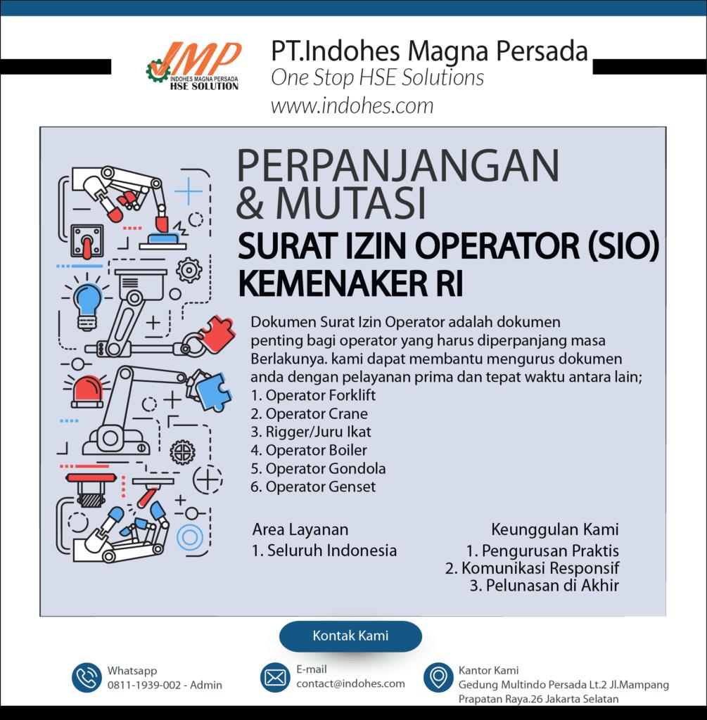 Perpanjangan dan Mutasi Surat Izin Operator (SIO) Kemnaker RI