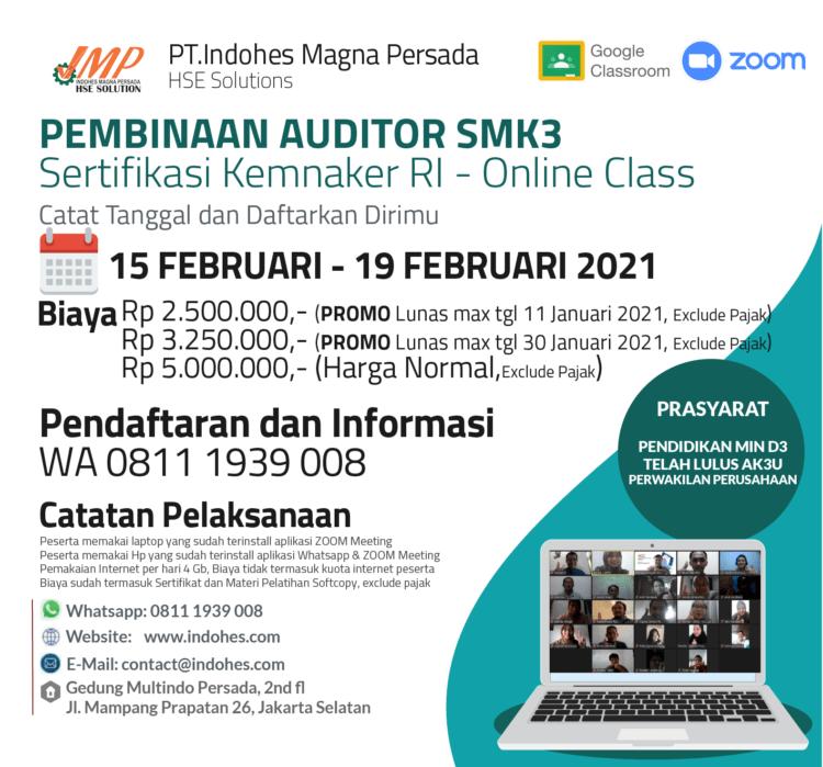 Auditor SMK3 Sertifikasi Kemnaker RI 2021