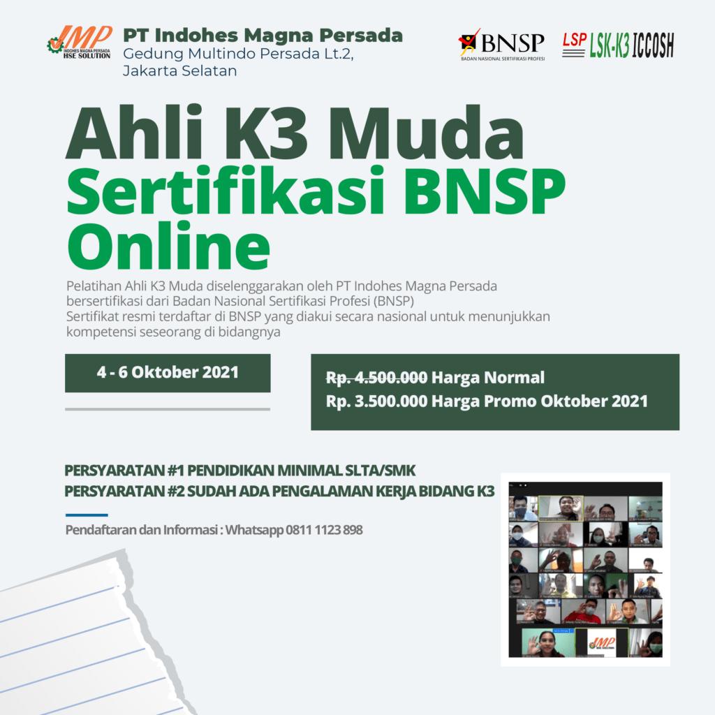 Ahli K3 Muda Sertifikasi BNSP Pelaksanaan Oktober 2021 Promo